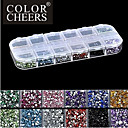 2500pcs 2mm ROUND 12-en-1 acrylique strass nail art décoration