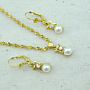 Buy 18K Golden Plated Pearl Necklace+Earrings Jewelry set
