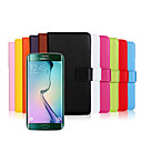 Solid color Stylish Genuine Leather Flip Cover Wallet Card Slot Case with Stand for Samsung GALAXY S6 Edge plus