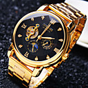 Buy Men's Business Mechanical Watch Automatic self-winding Round Diamond Dial Mineral Glass Mirror Stainless Steel Band Fashion Waterproof Wrist