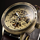 Men's Vintage Skeleton Bronzen Leather Band Automatic Self Wind Wrist Watch