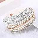 leather Charm BraceletsLureme®Fashion Rivets Woven Leather Multilayer Women's Crystal Bracelets