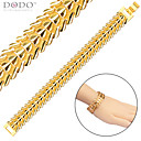 Buy Gold Bracelet Men Jewelry New Trendy 18K Plated Fashion Feather Chain Stainless Steel Women B40207