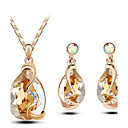 Buy Jewelry Set Shining Crystal Elegant Water Drop Pendant Necklace Earring(Assorted Color)