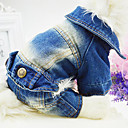 Dog Clothes/Jumpsuit / Denim Jacket/Jeans Jacket White / Blue / Pink Spring/Fall Jeans Fashion