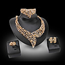 Buy Lucky Doll Diamond Vintage 18K Gold Plated Rhinestone Necklace & Earrings Bracelet Ring Party Jewelry Sets