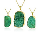 Buy MISSING U Women's Irregular Natural Pure Crystal Agate Stone 18K Gold Plated Pendant Necklace One Piece Jewelry