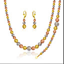 Buy Three Colors 18k Gold/Rose Gold/Silver Plated Luxury Scrub Bead Chain Necklace Bracelet Earrings Jewelry Set NB60083