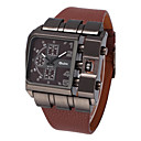 Men's Rectangle Military Fashion Design Leather Band Quartz Watch