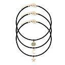 Buy 3 Pcs/Set Black Rope Chain Chokers Necklaces Star Alloy Pendants Maxi Women Fashion Statement Jewelry