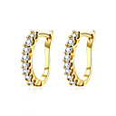 Buy AAA Cubic Zirconia Earrings Jewelry Women Daily Casual Zircon Copper Silver Plated Gold 1 pair Yellow