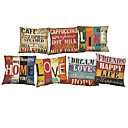 Buy Set 7 Retro letter Linen Cushion Cover Home Office Sofa Square Pillow Case Decorative Covers Pillowcases