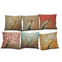 Buy Set 6 Oil painting three-dimensional tree pattern Linen Pillow Case Bedroom Euro Covers 18x18 inches Cushion cover