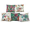 Buy Set 5 Flamingo Tropical Plants Linen Pillow Case Bedroom Euro Covers 18x18 inches Cushion cover