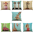 Buy Set 7 giraffe pattern Linen Cushion Cover Home Office Sofa Square Pillow Case Decorative Covers Pillowcases