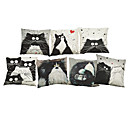Buy Set 7 Cartoon images Linen Cushion Cover Home Office Sofa Square Cat Pillow Case Decorative Covers Pillowcases