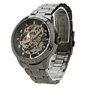 SHENHUA Hombre Reloj de Pulsera El reloj mecánico Cuerda Automática Huecograbado Acero Inoxidable Banda Negro Negro