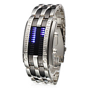 Unisex Blue LED Digit Display Steel Band Wrist Watch