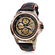 WINNER 남성 손목 시계 기계식 시계 중공 판화 오토메틱 셀프-윈딩 PU 밴드 블랙