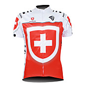 Kooplus 싸이클 져지 남성용 짧은 소매 자전거 져지 탑스 방수 지퍼 전면 지퍼 착용 가능한 통기성 100% 폴리에스터 국기 사이클링/자전거