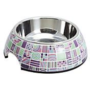 개 고양이를위한 유행 체크 패턴 멜라민 쉘 애완 동물 스테인리스 음식 그릇 (S-XL)