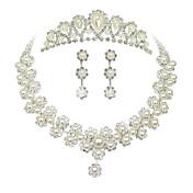 여성용 모조 진주 라인석 의상 보석 합금 목걸이 귀걸이 왕관 제품 결혼식 파티 특별한 때 생일 약혼 결혼 선물
