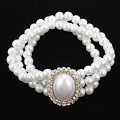모조 다이아몬드는 여자의 팔찌를 가진 우아한 진주 물가