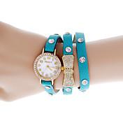 여자의 둥근 아날로그 쿼츠 Bowknot는 가죽 밴드 손목 시계 다이얼