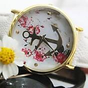 여자 금 앵커 꽃 가죽 끈 Quatz 시계 분류 된 색깔을 위해