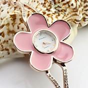 아가씨들 팔찌 시계 모조 다이아몬드 석영 합금 밴드 꽃패턴 우아한 골드
