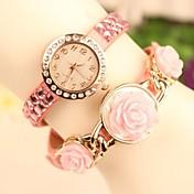 여성의 패션 가죽 밴드 석영 아날로그 팔찌 시계 (모듬 색상)를 상승