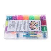 6300pcs 밴드와 플라스틱 휴대용 케이스 100의 클립과 다채로운 DIY 고무 밴드 팔찌