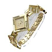 아가씨들 모조 다이아몬드 시계 석영 합금 밴드 보헤미안 실버 골드
