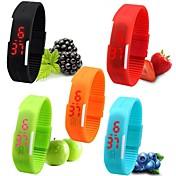 남성 아가씨들 남여공용 스포츠 시계 손목 시계 팔찌 시계 캐쥬얼 시계 디지털 시계 디지털 LED 실리콘 밴드 캔디 블랙 화이트 레드 핑크