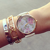 아가씨들 패션 시계 팔찌 시계 석영 PU 밴드 꽃패턴 블랙 화이트 핑크