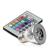 E14 GU10 E26/E27 LED 무대 조명 MR16 1 고성능 LED 250 lm RGB 밝기 조절 리모컨 작동 장식 AC 85-265 V 1개