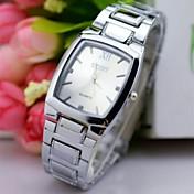 남성용 손목 시계 모조 다이아몬드 시계 석영 스테인레스 스틸 밴드 실버