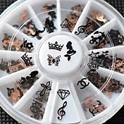 러블리 - 핑거 / 발가락 - 3D 네일 스티커 - 금속 - 12pcs/set - mix sizes