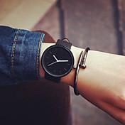 남성 아가씨들 커플용 패션 시계 캐쥬얼 시계 석영 가죽 밴드 블랙