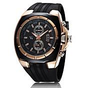 V6 남성 밀리터리 시계 손목 시계 석영 일본 쿼츠 고무 밴드 블랙