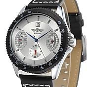 Hombre Reloj de Pulsera El reloj mecánico Reloj Casual Cuerda Manual Piel Banda De Lujo Negro