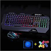 alta calidad de juego que brilla teclado del ordenador 2400dpi ratón y alfombrilla de ratón 3 pedazos un sistema