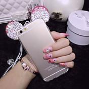 """부드러운 투명 TPU 전화를 보호하는 차원 미키 마우스 모조 다이아몬드 귀는 경우 아이폰 6 4.7 """"(모듬 색상)를 커버"""