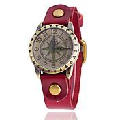 Herren Damen Unisex Modeuhr Armbanduhren für den Alltag Quartz Leder Band Schwarz Weiß Blau Rot Orange Braun Grün GelbGelb Kaffee Rot