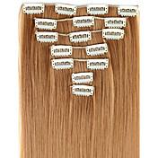 24 Inch 7pcs/set largo clip recto en extensiones de cabello sintético con 16 Clips - 16 colores disponibles