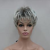 갈색 믹스 짧은 직선 여성의 합성 가발 새로운 밝은 회색 팁