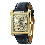 WINNER Hombre Reloj de Pulsera El reloj mecánico Cuerda Automática Huecograbado PU Banda De Lujo Negro Negro