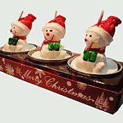 크리스마스 촛불 귀여운 눈사람 모양 3PCS