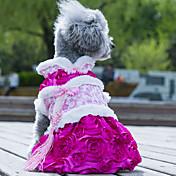 개 드레스 강아지 의류 웨딩 패션 꽃장식 그린 핑크