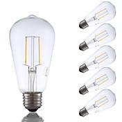 2W E26 LED필라멘트 전구 ST19 2 COB 220 lm 따뜻한 화이트 밝기 조절 / 장식 AC 110-130 V 6개